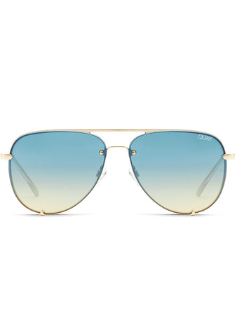X Desi Perkins High Key Rimless Mini Sunglasses in Gold Blue Turquoise