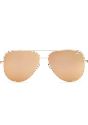 Quay Australia X Desi Perkins High Key Mini Sunglasses in Gold