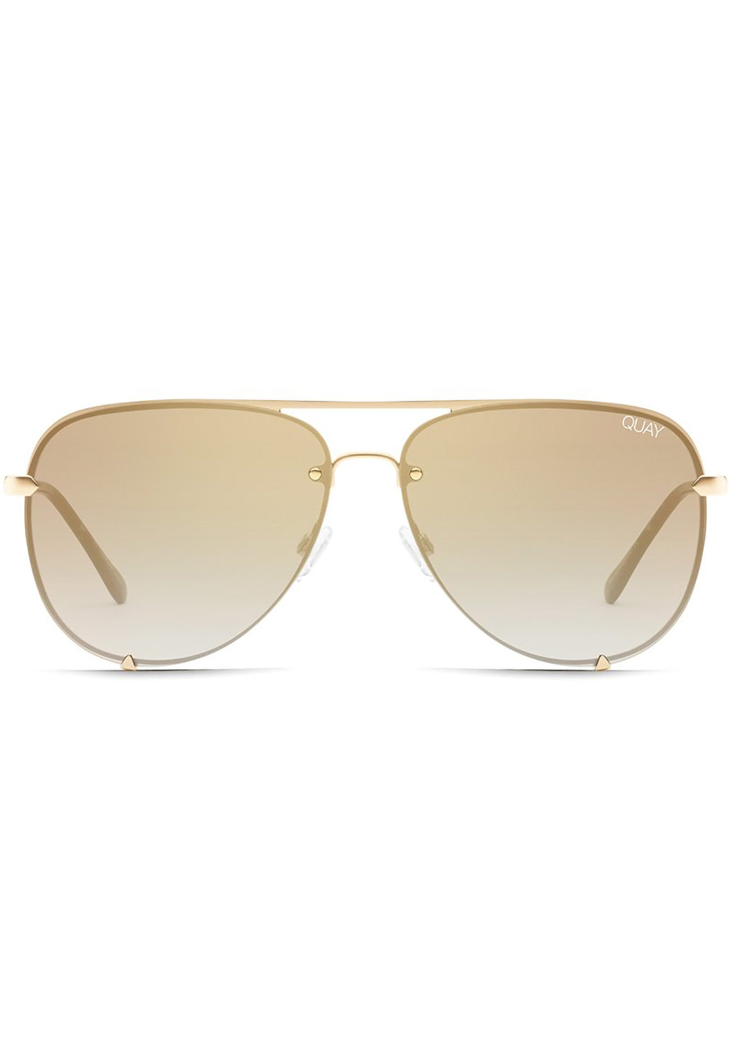 High Key Rimless Sunglasses in Gold Brown