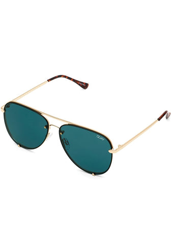 High Key Rimless Sunglasses Mini in Gold Teal