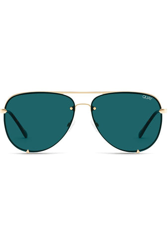 X Desi Perkins High Key Rimless Sunglasses in Gold Teal
