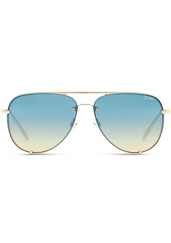X Desi Perkins High Key Rimless Sunglasses in Gold Blue Turquoise