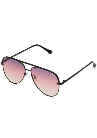 Quay Australia X Desi Perkins Sahara Mini Sunglasses in Black/Purple Fade