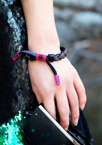 Black Dark Matter Bracelet Clat in Black Magenta