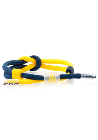Translucid Half Shadow Classic Knotaclat Bracelet in Blue Yellow