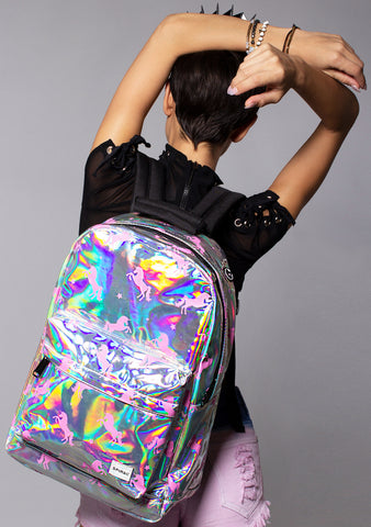 Holographic Unicorn Backpack in Silver Pink