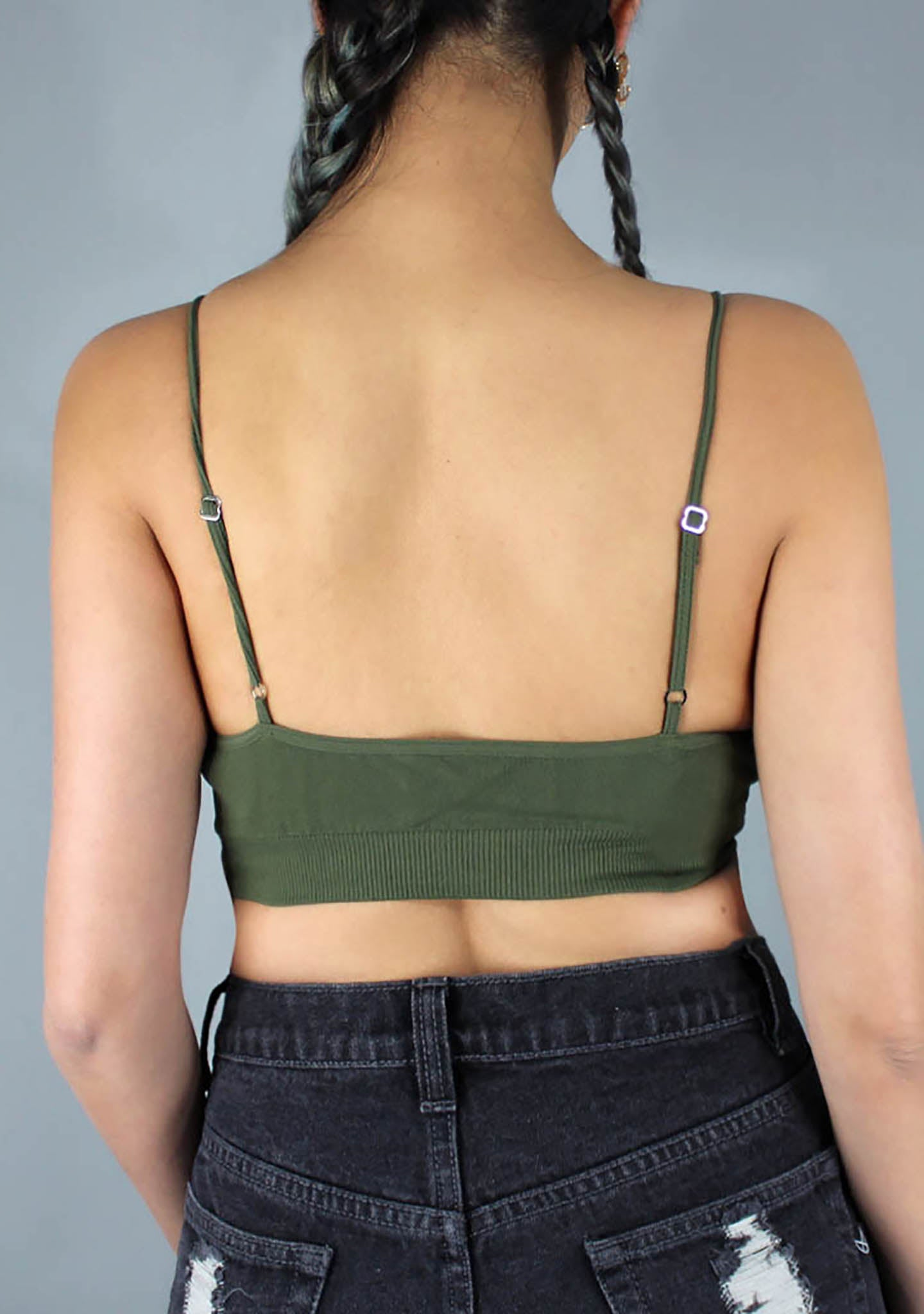 Lace Up Bralette in Olive