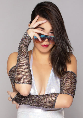 Onyx Ice Shimmer Fishnet Arm Warmers