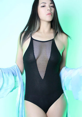Slow It Down Mesh V Neck Bodysuit