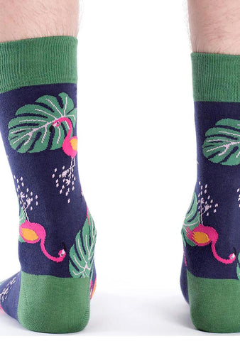 Sock It To Me Flamingo Crew Socks for Men