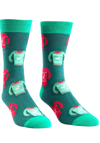 Sock It To Me Holiday Sweater Crew Socks for Men
