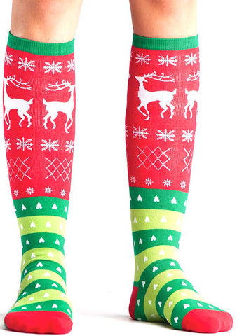 Sock It To Me Tacky Holiday Sweater Knee High Socks