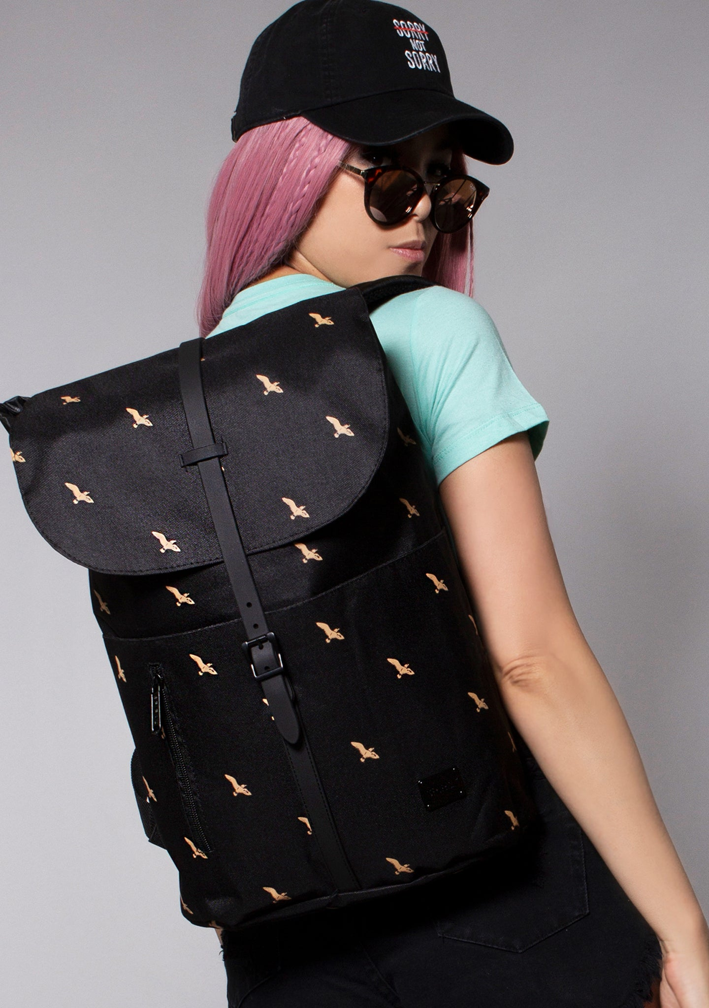 Golden Raven Festival Backpack in Black