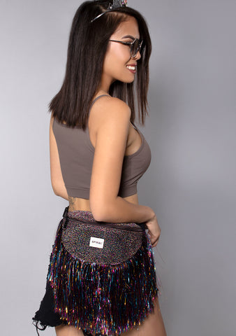 Metallic Tinsel Fringe Midnight Bum Bag