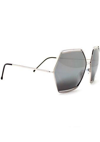 Spitfire Hype Oversized Sunglasses in Silver Mirror