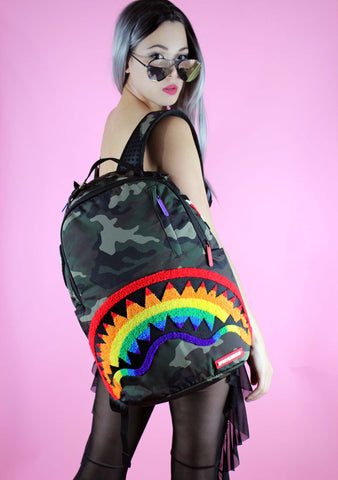 Chenille Rainbow Shark Backpack