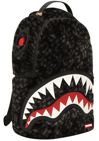 Fur Rubber Shark Backpack in Black/Grey