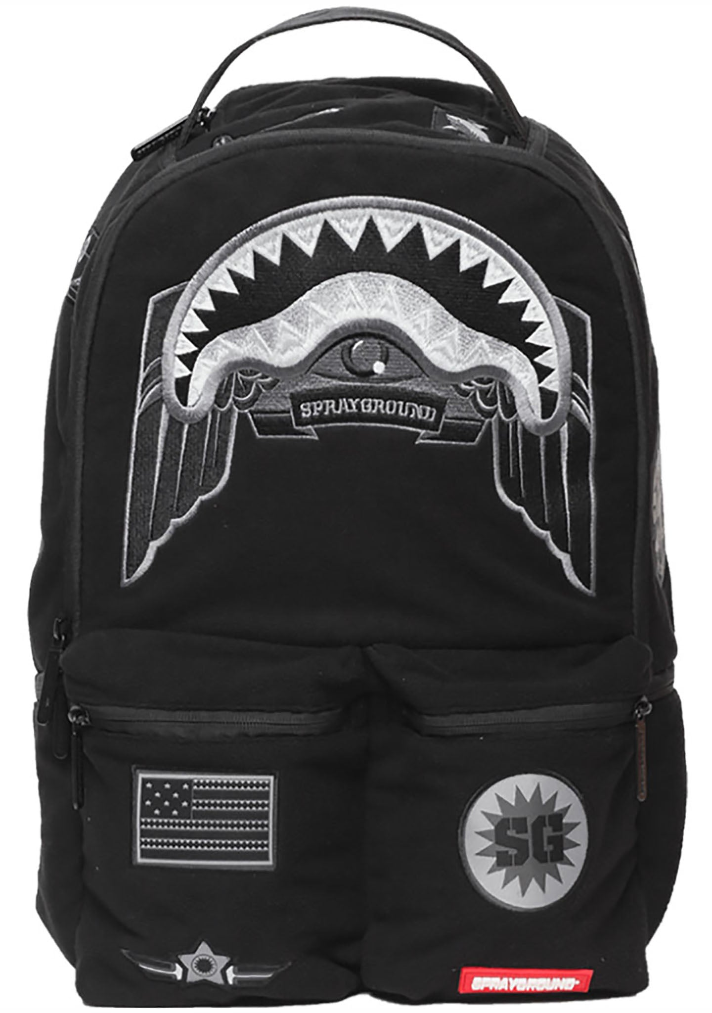 400eafb9375 Sprayground Ghost Shark Army Patches Backpack
