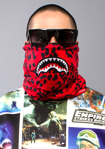 SPRAYGROUND Red Leopard Shark Mouth Neck Warmer