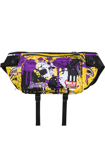 SPRAYGROUND NBALAB LA Lakers Drip Purple/Gold Crossbody Waist Bag Fanny Pack