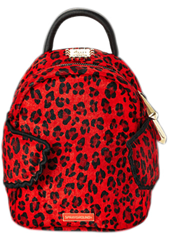 Red Leopard Angel Pony Hair Fur Backpack