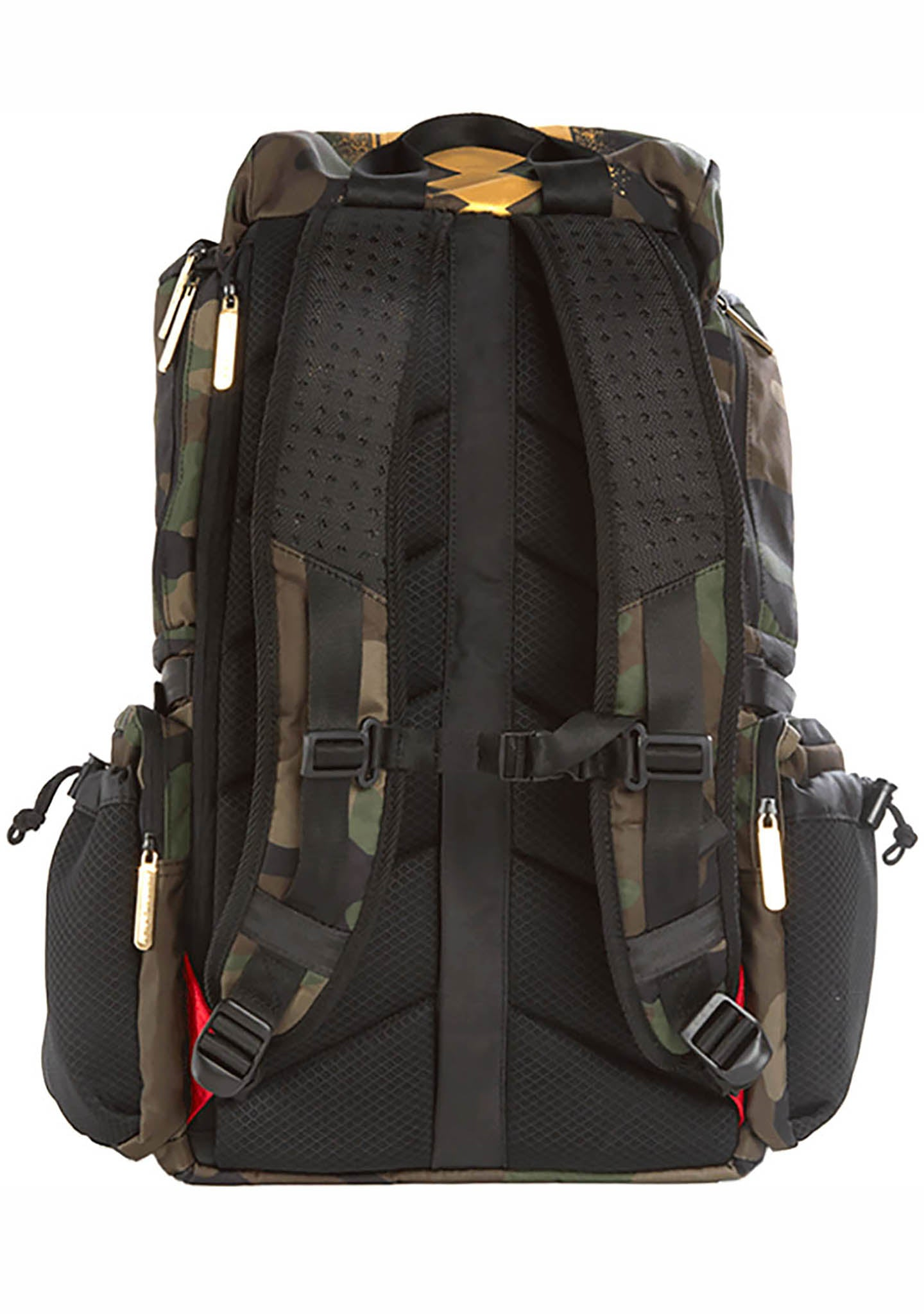 Sprayground Gold Stencil Camo Shark Top Gear Backpack
