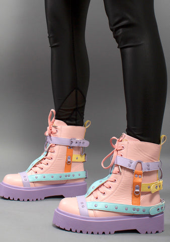 Disorder Bondage Boots in Pastel