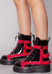 Disorder Bondage Boots in Black Red