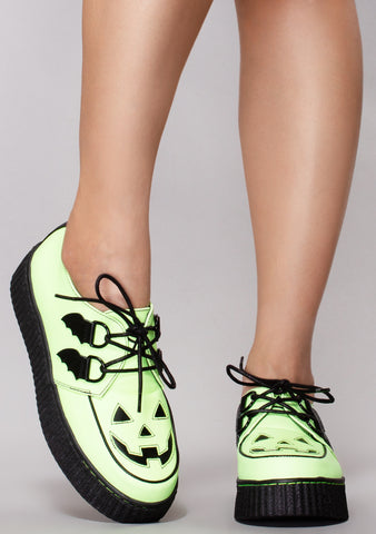 Krypt Kreeper Jackolantern Platform Sneakers in Glow in the Dark