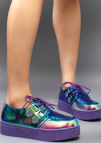 Strange Cvlt Krypt Kreeper Sea Witch Platform Sneakers in Green/Purple