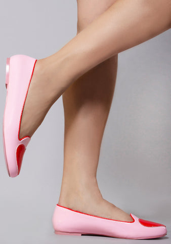 Lydia Heartthrob Flats in Pink Red