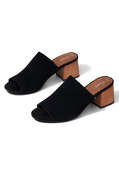 Grace Suede Mule Sandals in Black