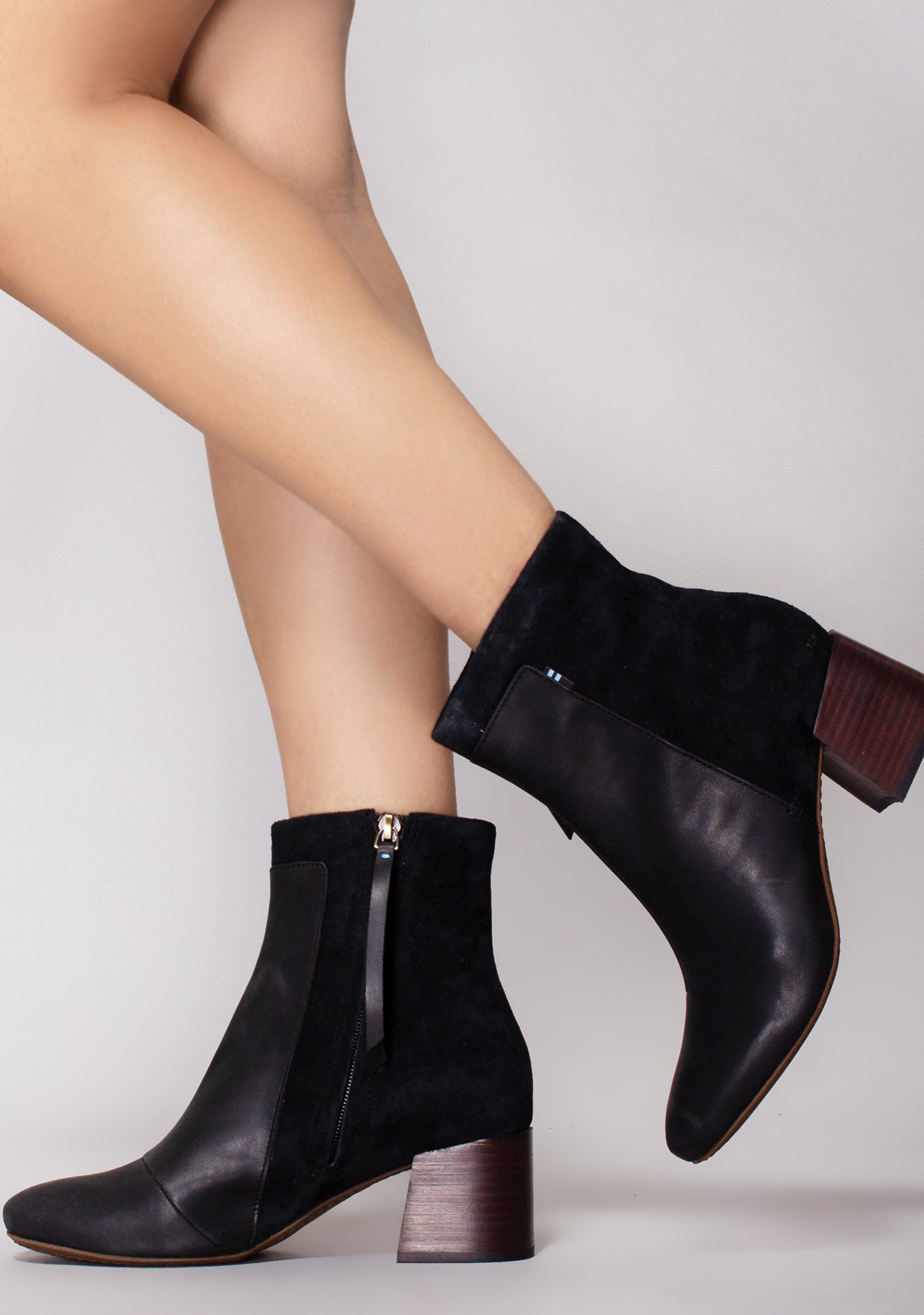 Toms Emmy Black Leather Nubuck Booties