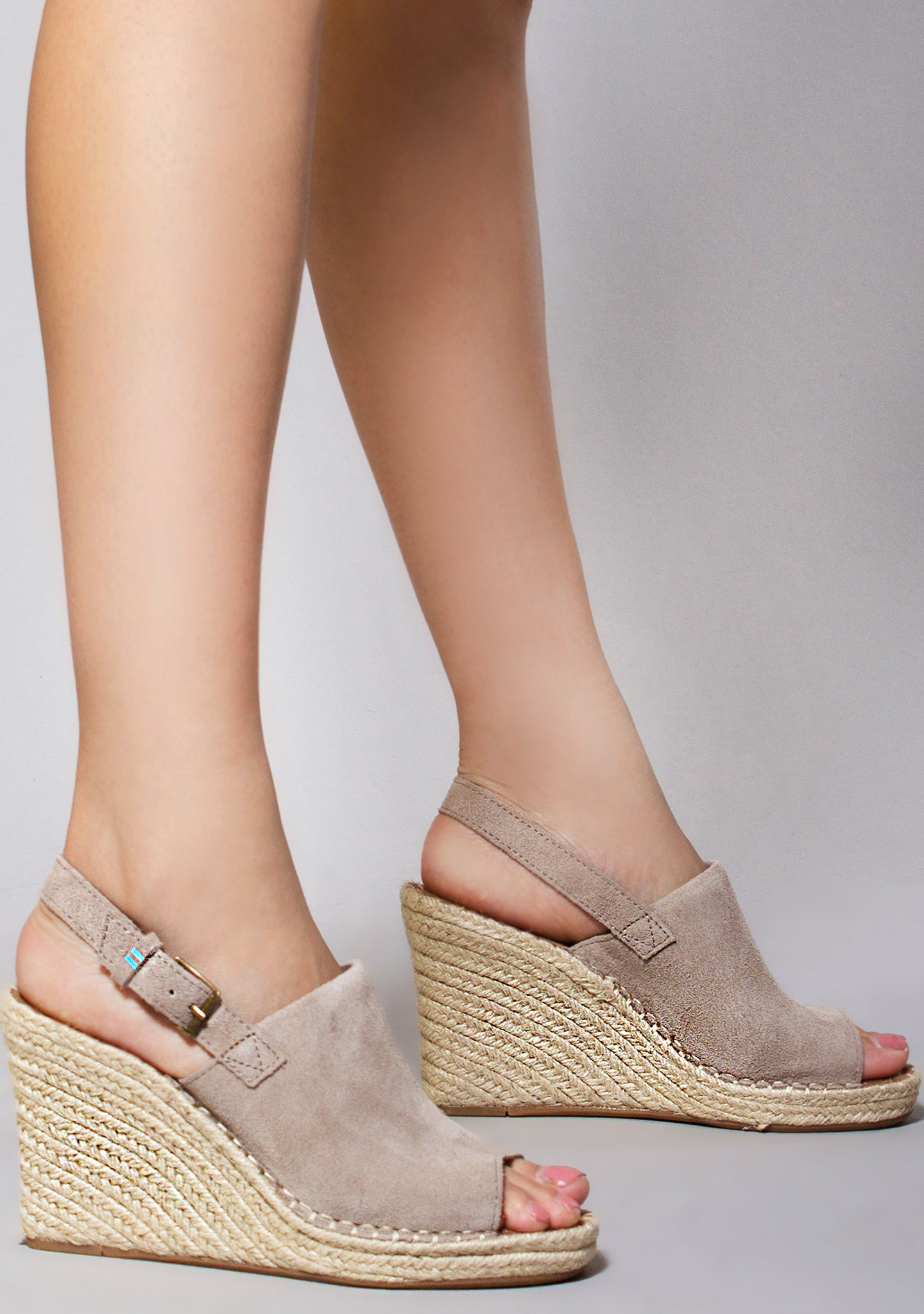 aa1df280fceac Suede Monica Wedges in Desert Taupe