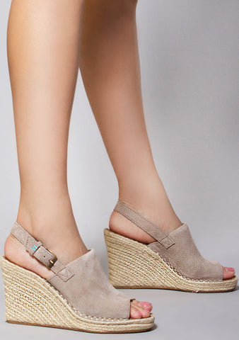 Suede Monica Wedges in Desert Taupe