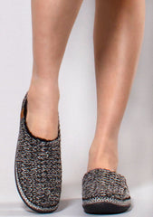Ivy Sweater Knitted Faux Fur Slippers in Black/White