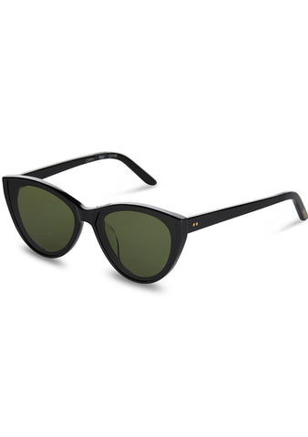 Josie Sunglasses in Shiny Black/Bottle Green