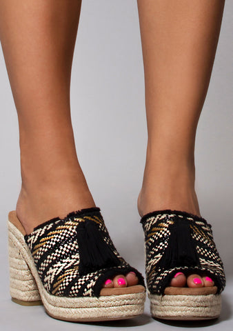 Toms Junie Wedge Sandals in Black Geometric