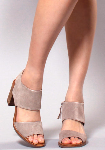Suede Majorca Cutout Sandals in Sand