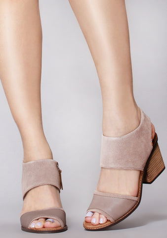 Majorca Suede Block Sandals in Taupe Grey