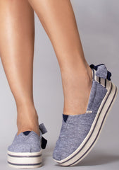Navy Chambray Bow Boardwalk Sneakers