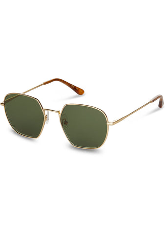 Sawyer Sunglasses in Shiny Gold/Bottle Green