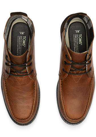 Waterproof Brown Pull Up Leather Men's Chukka Boots in Brown