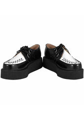 T.U.K. Leather Viva Mondo Sole Creepers in Black/White