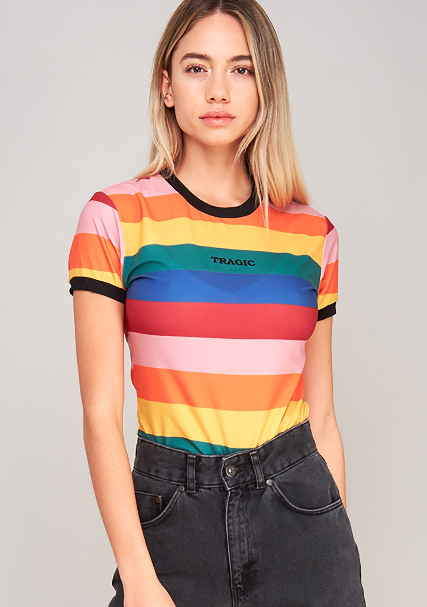 The Ragged Priest Unlucky Ringer Tee in Rainbow