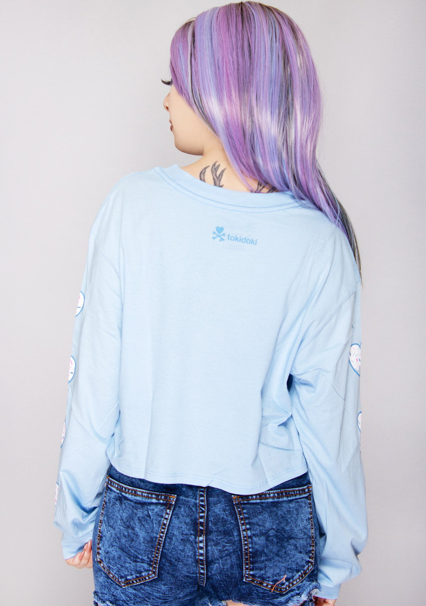 Donutella Sprinkled Heart Long Sleeve Crop Top