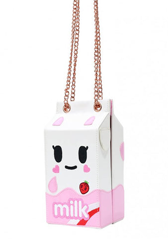 Camo Kawaii Strawberry Milk Carton Crossbody Bag