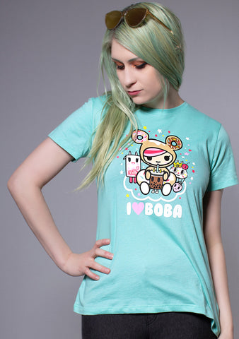I Love Boba Women's Tee in Mint