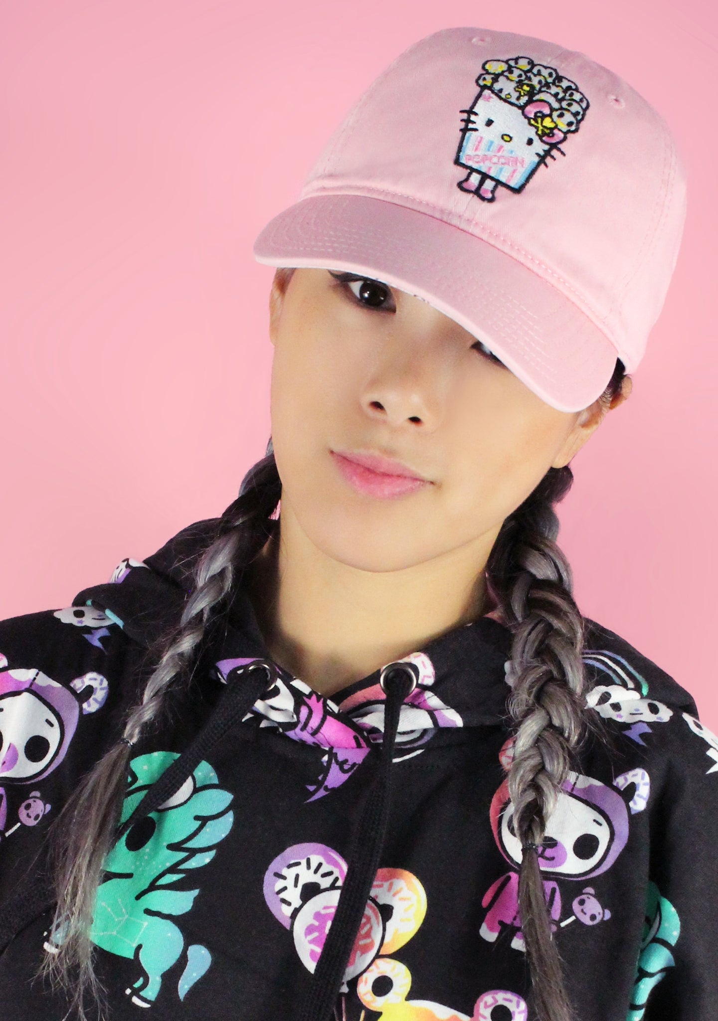 Tokidoki X Hello Kitty Popcorn Kitty Dad Hat in Pink