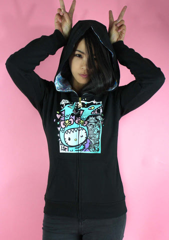 X Hello Kitty Kawaii Kitty Kaiju Hoodie Jacket